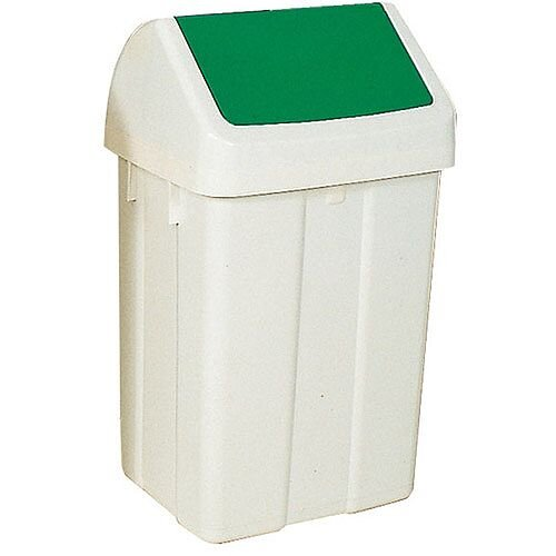 Plastic Swing Top Bin 50 Litre White/Green 330351