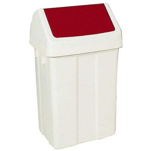 Plastic Swing Top Bin 50 Litre White/Red 330352