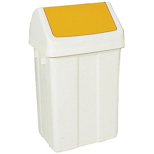 Plastic Swing Top Bin 50 Litre White/Yellow 330353