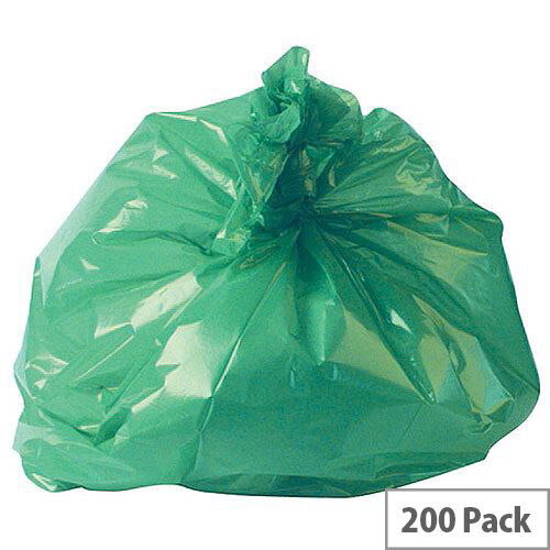 2Work Polymax Refuse Sacks 100L Colour Coded Green Pack of 200. Supplied Flat Packed For Efficient Storage. Made From 100gsm Plastic. Ideal For Use In Recycling Systems, Schools, Homes, Offices, Colleges &More.