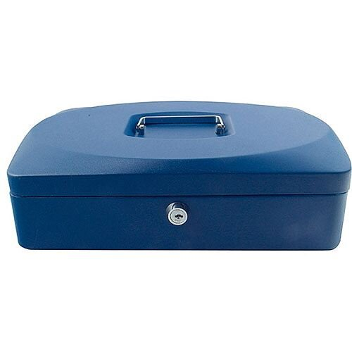 Q-Connect Large Cash Box Blue – 12 Inch, Key Lock, 8 Coin Compartments, Metal Handle, 2 Keys, Removable Tray, Suitable For Outside Environments &300x246x92mm (KF02625)