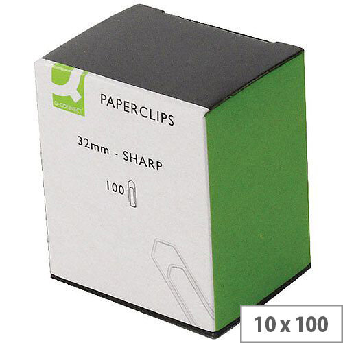 Q-Connect Paperclip 32mm No Tear Pack 100 x 10 KF01312Q
