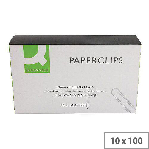 Q-Connect Paperclip 32mm Plain Pack 100 x 10 KF01314Q