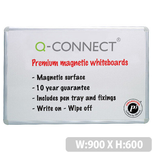 Magnetic Premium Dry Wipe Board 900x600mm Q-Connect