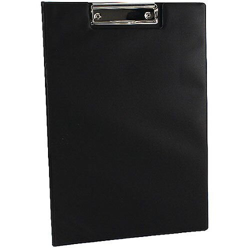Q-Connect PVC Foldover Clipboard Foolscap/A4 Black