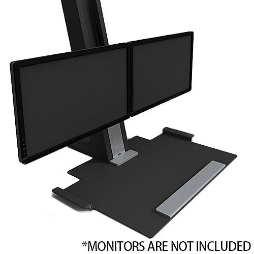 Humanscale QuickStand Height-Adjustable Dual Monitor Sit/Stand Workstation Black QSBC30
