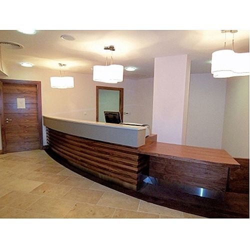 Wooden Curved Reception Unit White Counter RD106