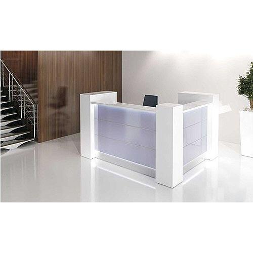 Valde Small L-Shaped Reception Unit  Modern High Gloss White Illuminated Finish RD21