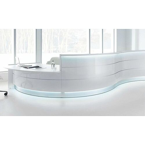 Valde Modern Curved Formation High Gloss White Illuminated Reception Desk  RD33