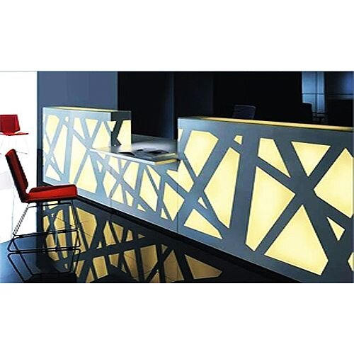 Zig Zag Modern Design Illuminated Solid Surface Reception Desk White  Yellow Illumination RD41