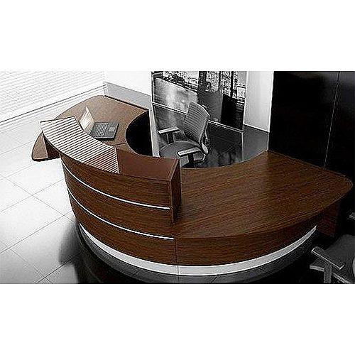 Valde Circular  Solid Surface Reception Unit Chestnut Steel Finish RD43