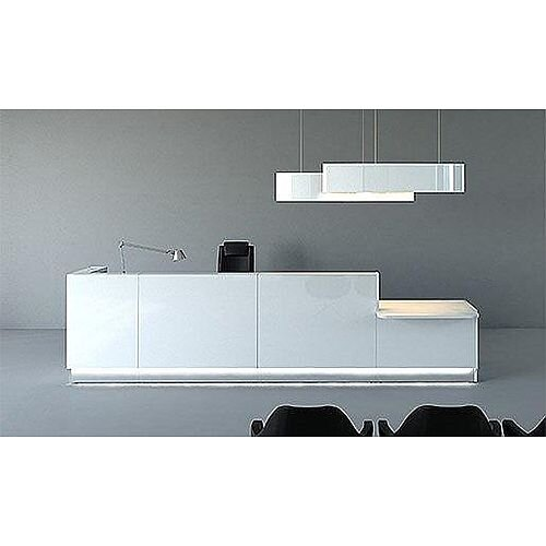 Linea Minimalist Design L Shaped Reception Unit Gloss White RD47