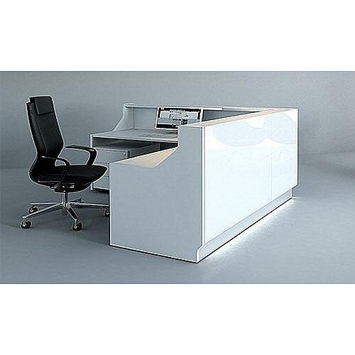 Linea Minimalist Design L-Shaped Reception Desk Unit Gloss White RD48