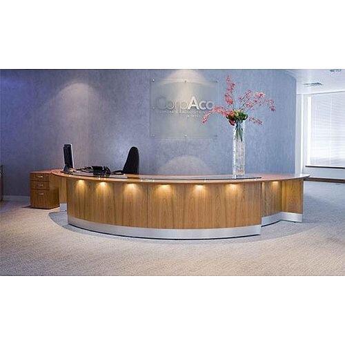 Circular Wooden Reception Desk Glass Counter Top RD56