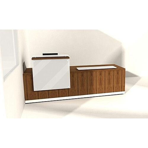 Wooden Reception Desk White Glossy Front RD64