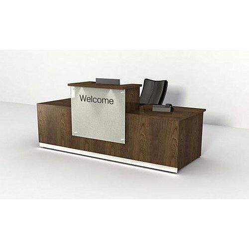Dark Wood Finish Reception Desk Glass Front Panel RD66