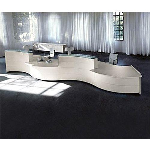 Light Oak Wood Finish Curved Reception Desk Luna RD67