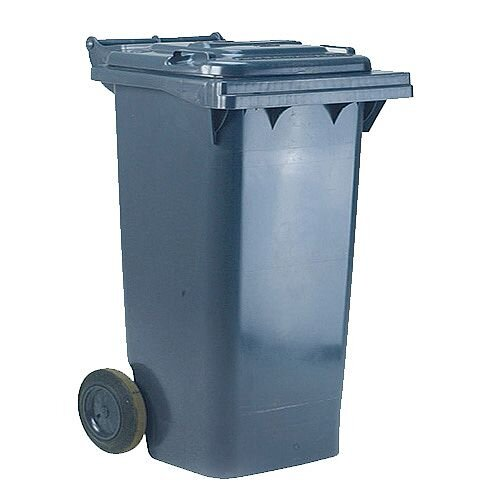 Wheelie Bin 120 Litre 2 Wheel Grey - Suitable for general waste or recyclables - UV stabilised polyethylene for durability