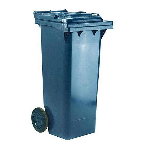 Wheelie Bin 140 Litre 2-Wheel Grey - Wheeled bin for easy disposal of waste - Suitable for general waste or recyclables - UV stabilised polyethylene for durability