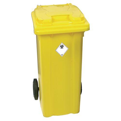 Yellow Clinical Waste 2 Wheel Wheelie Bin 360L H1070 x W620mm 377920