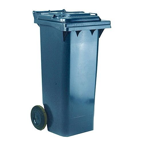 Wheelie Bin 80 Litre 2-Wheel Grey - Wheeled bin for easy disposal of waste - Suitable for general waste or recyclables - UV stabilised polyethylene for durability