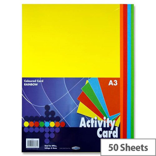 Premier A3 160g Rainbow Activity Card (Pack of 50 Sheets)