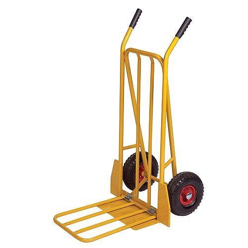 Sack Truck Yellow 250kg Capapcity Pneumatic Tyred Wheel Folding Foot 382848