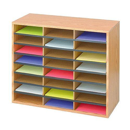 Safco Mailroom Sorter Oak 24 Compartment Literature Organiser