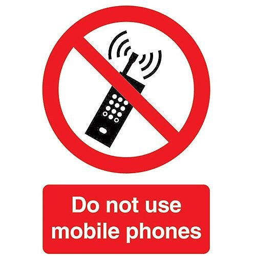 Safety Sign Do Not Use Mobile Phones A5 PVC