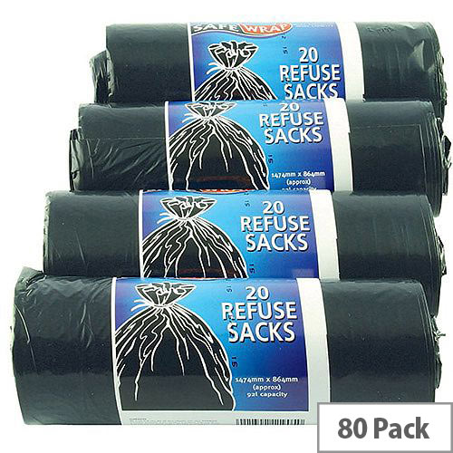 Safewrap Black Refuse Sack 92L Pack of 4 Rolls With 20 Sacks per Roll, Providing You With 80 Sacks In Total. Ideal For Use In Catering Environments, Schools, Colleges, Offices, Homes &More.