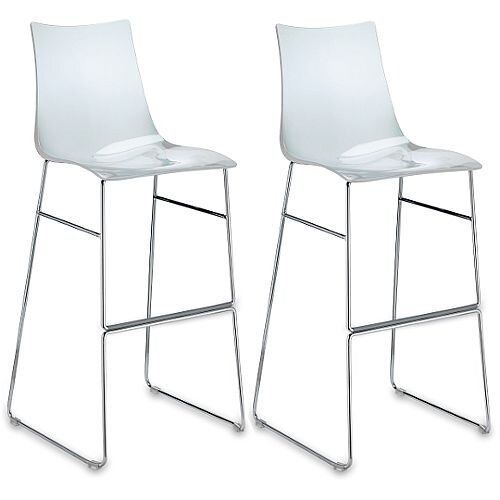 Zebra Antishock Bar Stool With H800mm Chrome Sled Base Transparent Set of 2