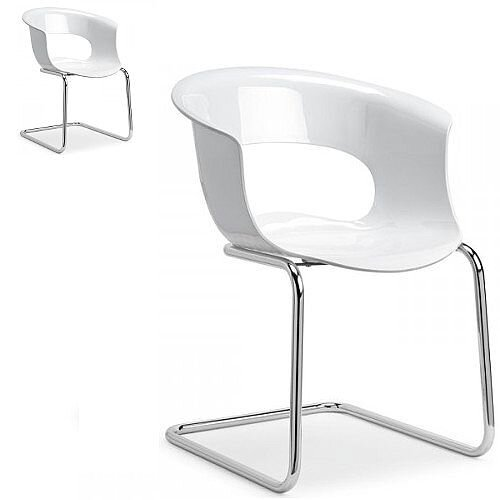Miss B Antishock Chair With Chrome Cantilever Base Glossy White Set of 2