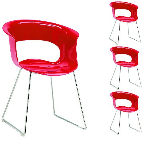 Miss B Antishock Canteen &Breakout Chrome Sled Frame Chair Glossy Red Set of 4