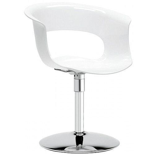 Miss B Twist Antishock Chair With Chrome Revolving Trumpet Base Glossy White