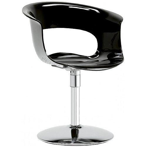 Miss B Twist Antishock Chair With Chrome Revolving Trumpet Base Glossy Black