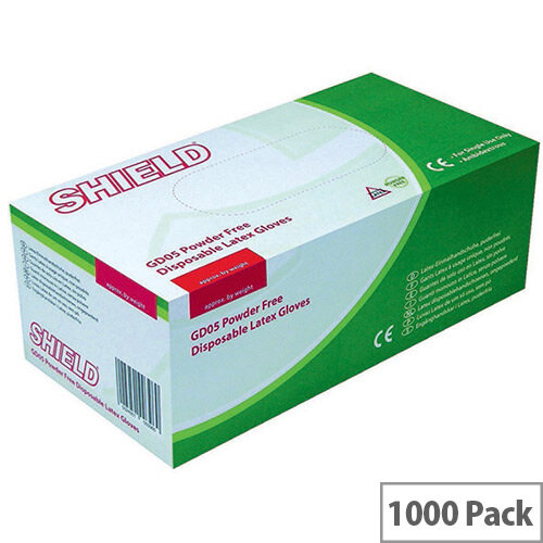 Disposable Powder Free Latex Gloves Clear Small Pack 10x100 Shield GD05