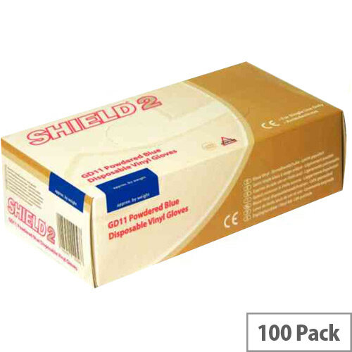 Disposable Powdered Vinyl Gloves Blue Large Box of 100 Shield 2 GD11