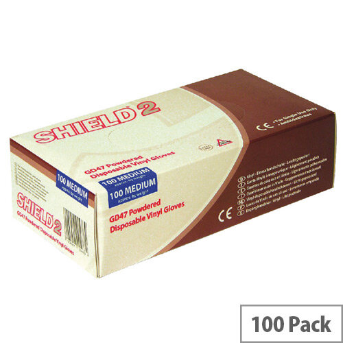 Disposable Powdered Vinyl Gloves Clear Medium Box of 100 Shield 2 GD47