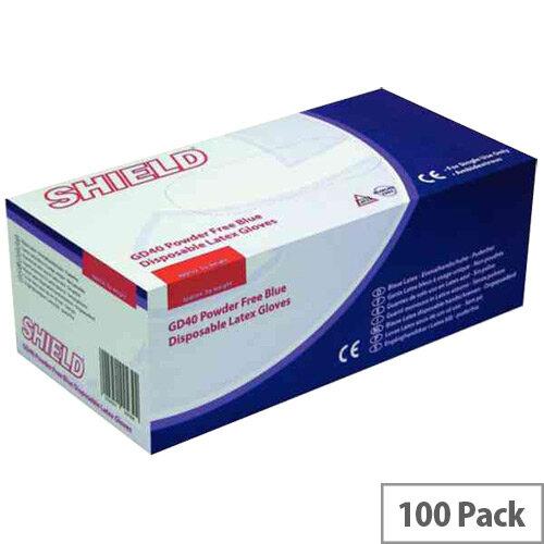 Disposable Powder-Free Latex Gloves Blue Medium Box of 100 Shield GD40