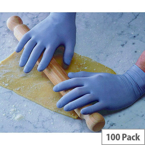 Disposable Powder-Free Latex Gloves Blue Small Box of 100 Shield GD40