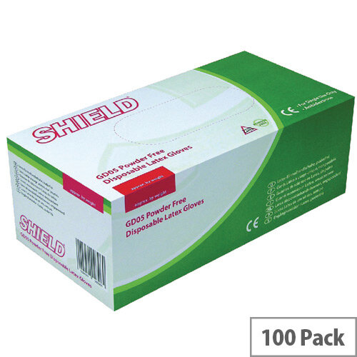 Disposable Powder-Free Latex Gloves Large Box of 100 Shield GD05