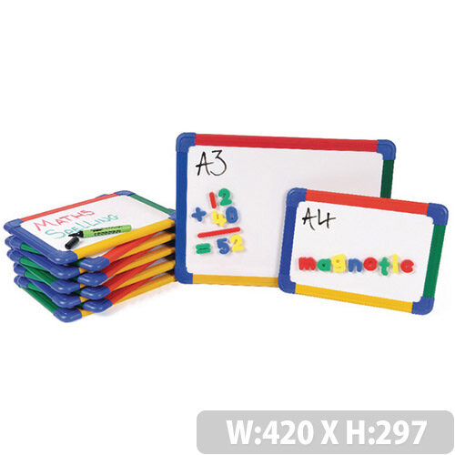 Show-Me A3 Rainbow Framed Magnetic Whiteboard 5 Pack