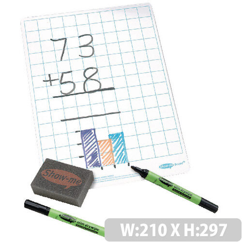 A4 Squared Whiteboard Sets Supertough 35 Pack Show-Me