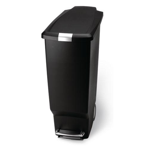 Slim Plastic Waste Pedal Bin 40 Litre Black 382648