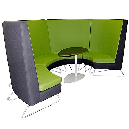 Modular Meeting Pod STELLA 4 Sections Green &Grey
