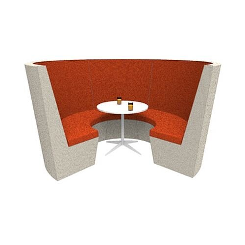 Modular Meeting Pod STELLA 3 Sections Orange &Grey