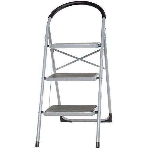Step Ladder Folding Step Stool 3-Tread Height 720mm White 359294
