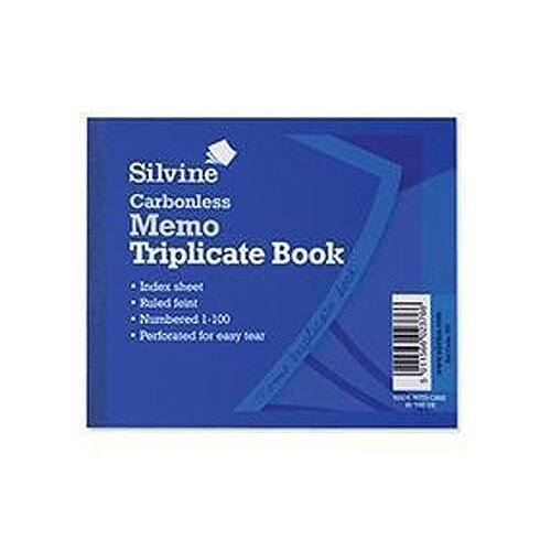 "Silvine Blue 4x5"" Carbonless Triplicate Memo Book Pack of 5 707"