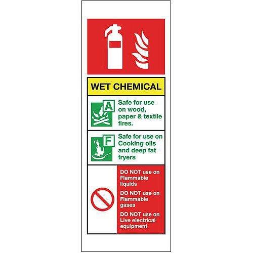 Aluminium Fire Extinguisher Sign Wet Chemical