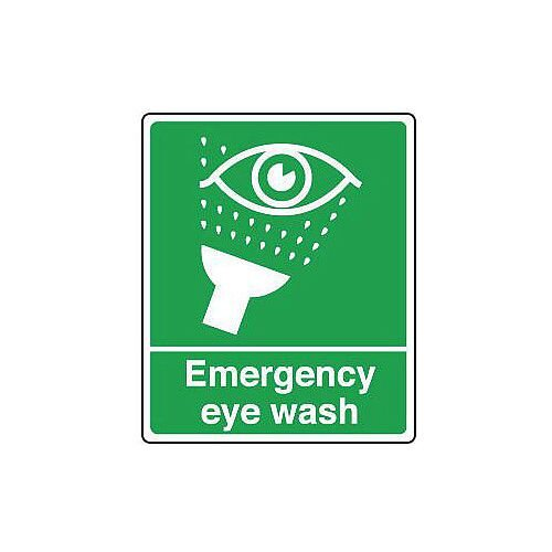 Rigid PVC Plastic Safe Condition And First Aid Sign Eyewash Text And Pictorial Hxw 200X150mm